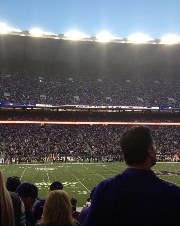Husky Stadium at night.