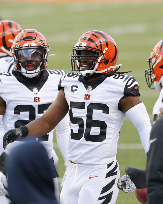 Nov 1, 2020; Cincinnati, Ohio, USA; Cincinnati Bengals middle linebacker Josh Bynes (56) celebrates after making an interception against the Tennessee Titans during the fourth quarter at Paul Brown Stadium. Mandatory Credit: Joseph Maiorana-USA TODAY Sports