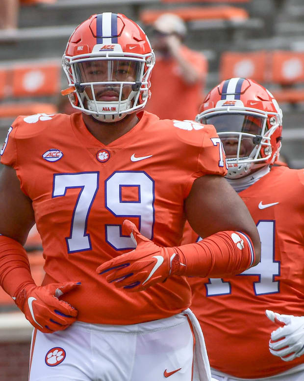 Clemson offensive tacle Jackson Carman (79) played 100 snaps in the Notre Dame game, and Tigers coaches acknowledge that may be too much.