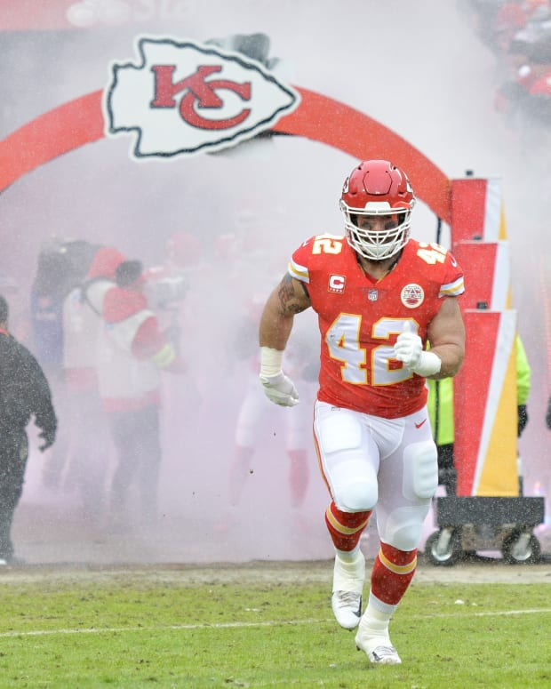 Jan 12, 2019; Kansas City, MO, USA; Kansas City Chiefs running back Anthony Sherman (42) is introduced in an AFC Divisional playoff football game against the Indianapolis Colts at Arrowhead Stadium. Mandatory Credit: Denny Medley-USA TODAY Sports