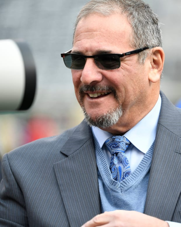 New York Giants general manager Dave Gettleman on the sideline before the Giants face the Jets on Sunday, Nov. 10, 2019, in East Rutherford.