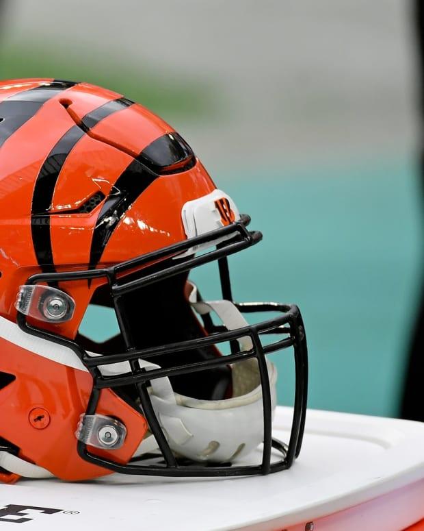 Dec 6, 2020; Miami Gardens, Florida, USA; A Cincinnati Bengals helmet sits on a cooler during the first half between the Miami Dolphins and the Cincinnati Bengals at Hard Rock Stadium. Mandatory Credit: Jasen Vinlove-USA TODAY Sports