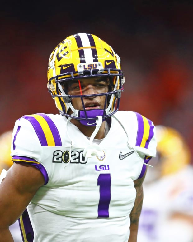 Jan 13, 2020; New Orleans, Louisiana, USA; LSU Tigers wide receiver Ja'Marr Chase (1) against the Clemson Tigers in the College Football Playoff national championship game at Mercedes-Benz Superdome. Mandatory Credit: Mark J. Rebilas-USA TODAY Sports
