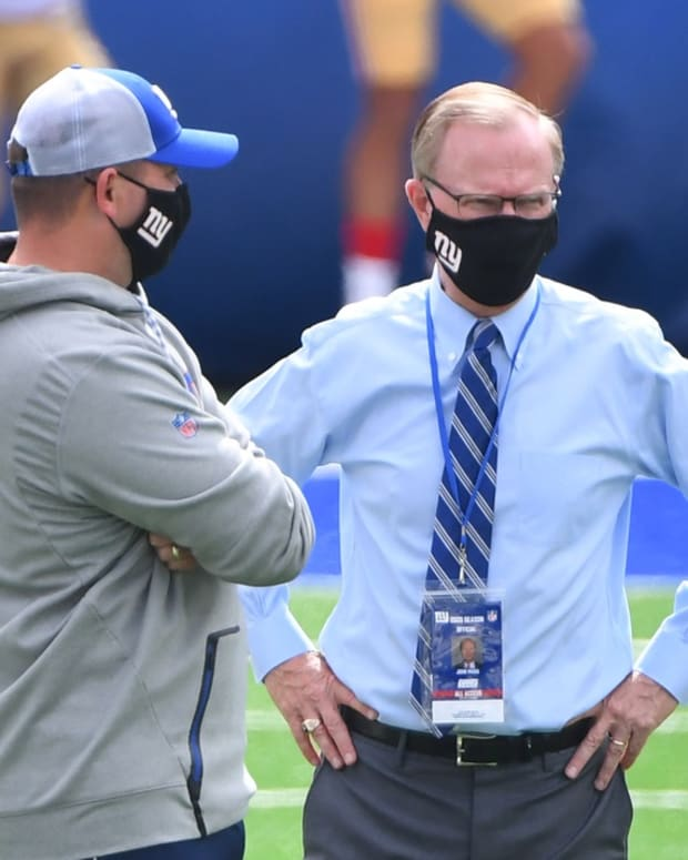 Sep 27, 2020; East Rutherford, New Jersey, USA; New York Giants head coach Joe Judge (left) with co-owner John Mara before a NFL football game against the San Francisco 49ers at MetLife Stadium.