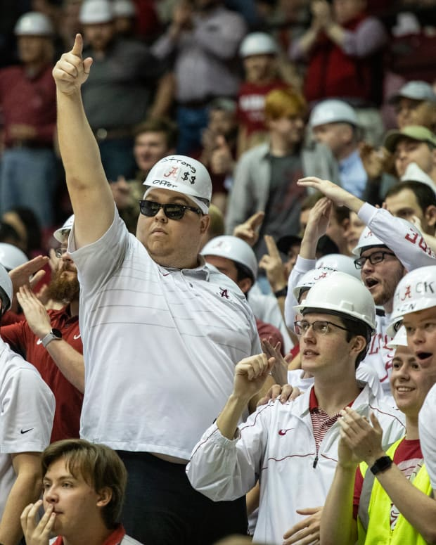 Luke Ratliff leads the Alabama student section