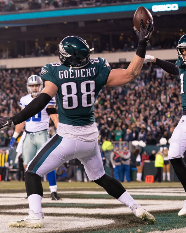 Tight end Dallas Goedert has been one of the few slam dunk draft picks made by the Eagles the past couple of years.