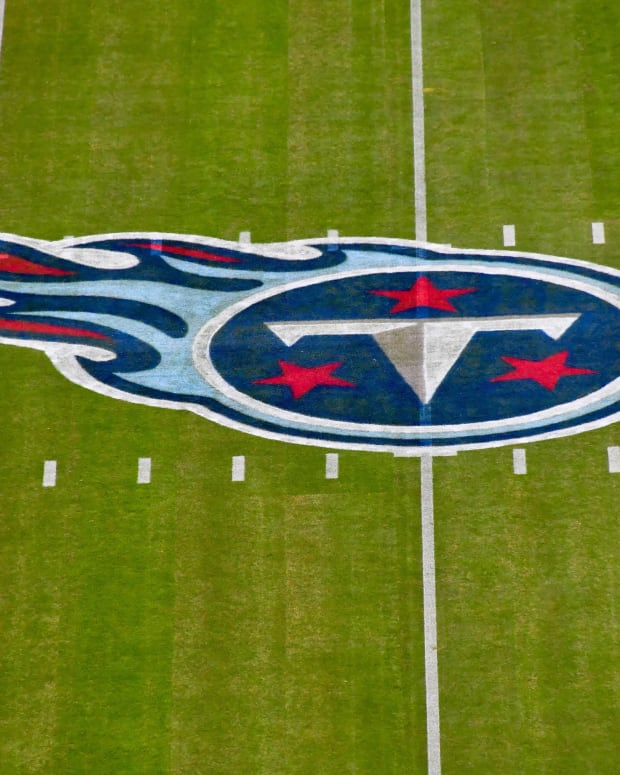 Tennessee Titans logo at mid field prior to the game against the Los Angeles Rams at Nissan Stadium.