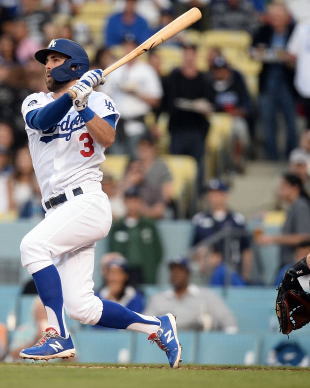 June 19, 2019; Los Angeles, CA, USA; Los Angeles Dodgers shortstop Chris Taylor (3) hits a three run home run against the San Francisco Giants during the first inning at Dodger Stadium. Mandatory Credit: Gary A. Vasquez-USA TODAY Sports