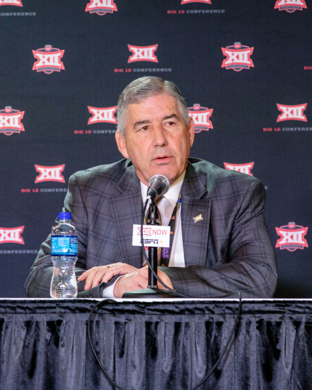 Big 12 commissioner Bob Bowlsby speaks to reporters during the press conference cancelling tournament games at Sprint Center.