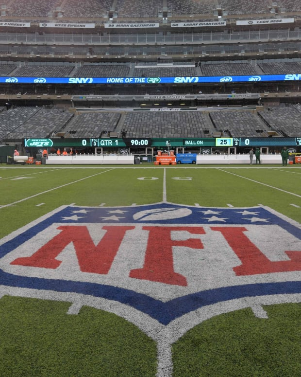 Nov 24, 2019; East Rutherford, NJ, USA; General overall view of the NFL shield logo at midfield at MetLife Stadium. The Jets defeated the Raiders 34-3.