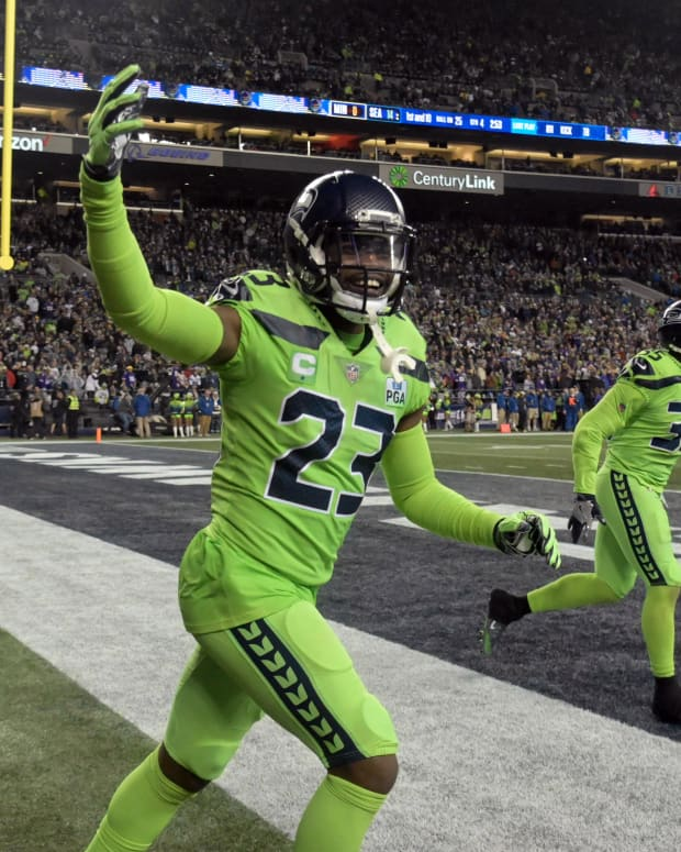 Seattle Seahawks defensive back Neiko Thorpe (23) celebrates in the fourth quarter against the Minnesota Vikings at CenturyLink Field. The Seahawks defeated the Vikings 21-7.