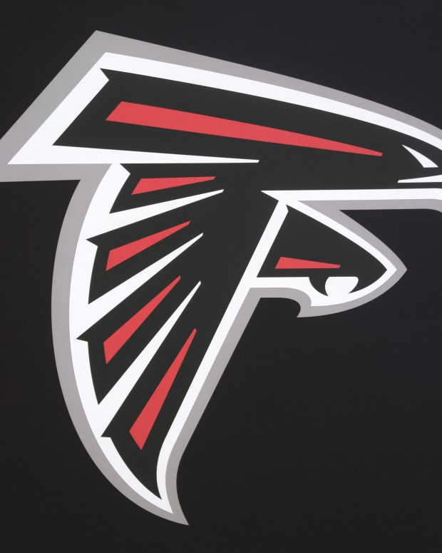 Jan 31, 2017; Houston, TX, USA; Atlanta Falcons logo on display at the NFL Experience at the George R. Brown Convention Center. Mandatory Credit: Kirby Lee-USA TODAY Sports