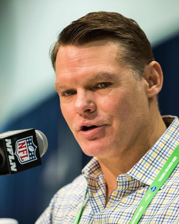 Indianapolis Colts GM Chris Ballard discusses draft prospects during February's NFL Scouting Combine at Indianapolis.