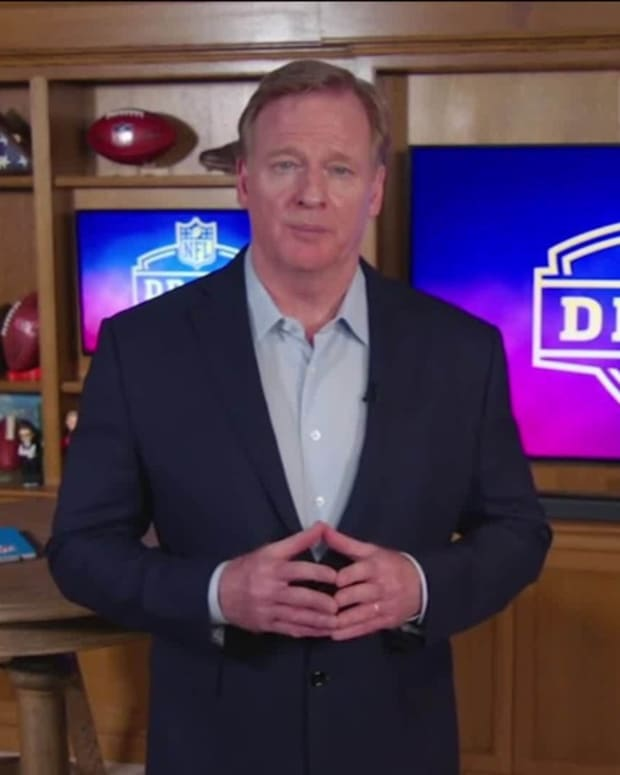 Apr 23, 2020; In this still image from video provided by the NFL, NFL Commissioner Roger Goodell speaks from his home in Bronxville, N.Y., during the 2020 NFL football draft.