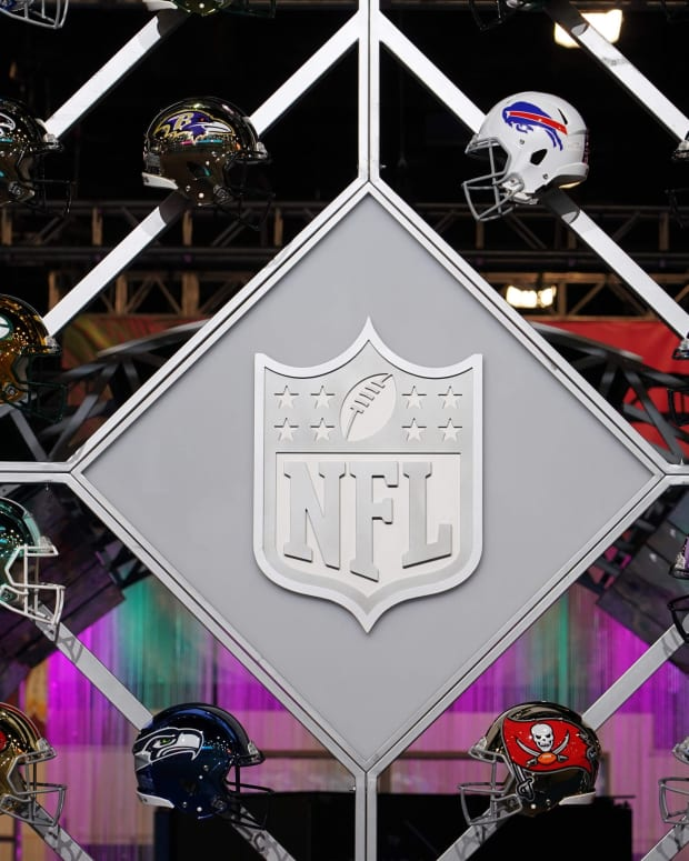 Jan 27, 2020; Miami, Florida; USA; General overall view of the NFL Shield logo and helmets at the NFL Experience at the Miami Beach Convention Center.