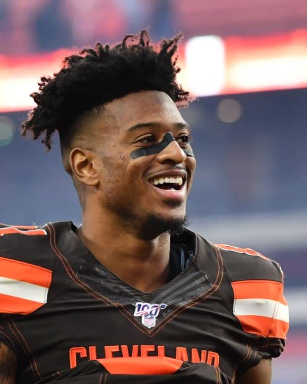 Nov 10, 2019; Cleveland, OH, USA; Cleveland Browns wide receiver Rashard Higgins (81) walks off the field after the Cleveland Browns beat the Buffalo Bills at FirstEnergy Stadium. Mandatory Credit: Ken Blaze-USA TODAY Sports