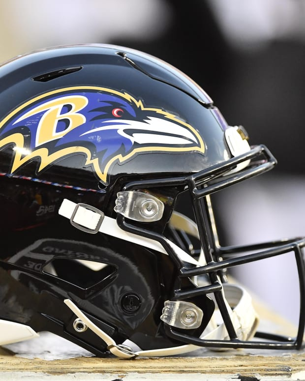 Aug 29, 2019; Landover, MD, USA; Baltimore Ravens helmet during the first half at FedExField. Mandatory Credit: Brad Mills-USA TODAY Sports