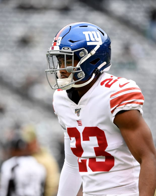 New York Giants cornerback Sam Beal (23) warms up before his Giants debut against the New York Jets on Sunday, Nov. 10, 2019, in East Rutherford.