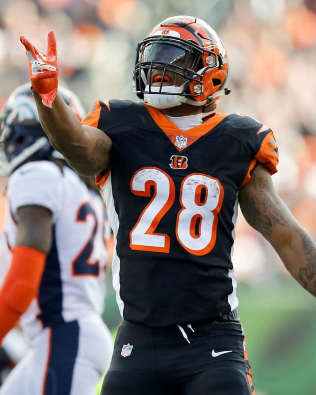 Cincinnati Bengals running back Joe Mixon (28) celebrates after running for a first down in the first quarter of the NFL Week 13 game between the Cincinnati Bengals and the Denver Broncos at Paul Brown Stadium in downtown Cincinnati on Sunday, Dec. 2, 2018. The Broncos led 7-3 at halftime. Denver Broncos At Cincinnati Bengals
