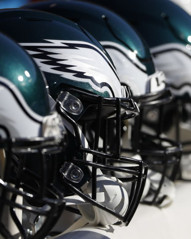 Dec 15, 2019; Landover, MD, USA; Philadelphia Eagles players helmets rest on the bench against the Washington Redskins in the first quarter at FedExField.