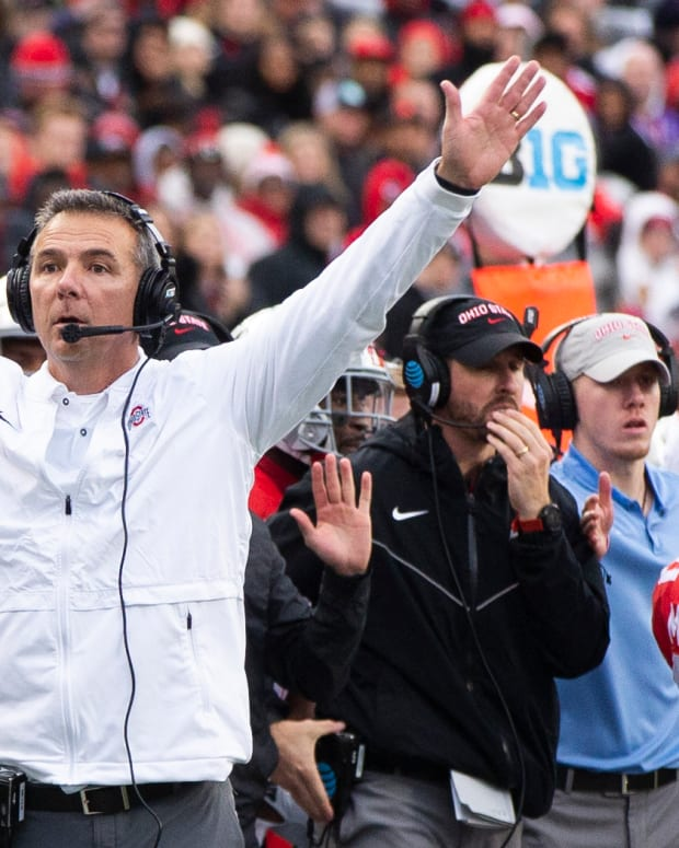 Ohio State Buckeyes Head Coach Urban Meyer coaches his last game against Michigan