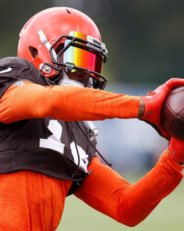 Cleveland Browns wide receiver Odell Beckham (13) during their preseason training camp practice at Grand Park in Westfield on Wednesday, August 14, 2019. Colts Preseason Training Camp
