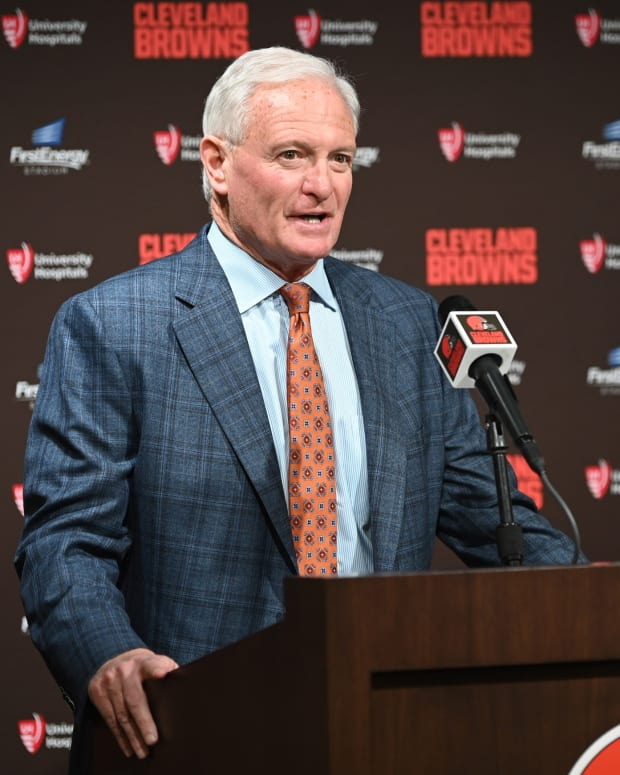 Jan 14, 2020; Cleveland, Ohio, USA; Cleveland Browns owner Jimmy Haslam introduces new Browns head coach Kevin Stefanski during a press conference at FirstEnergy Stadium. Mandatory Credit: Ken Blaze-USA TODAY Sports