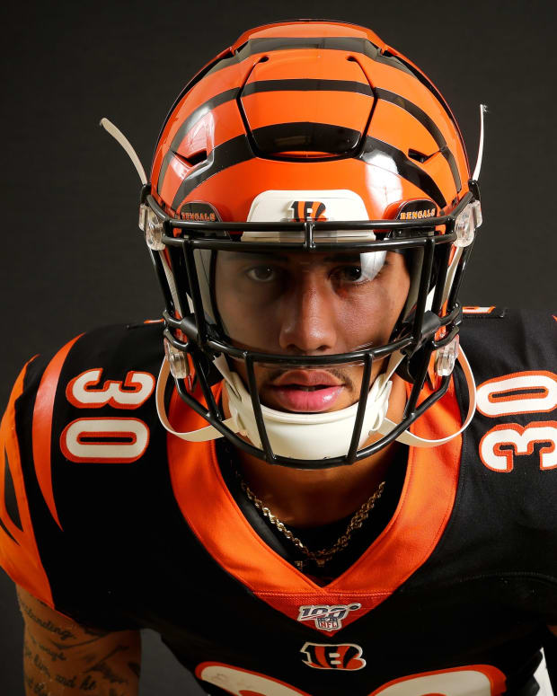 Cincinnati Bengals free safety Jessie Bates III (30) poses for a photo, Monday, June 10, 2019, at Paul Brown Stadium in Cincinnati. Bengals Media Day 6 10 2019