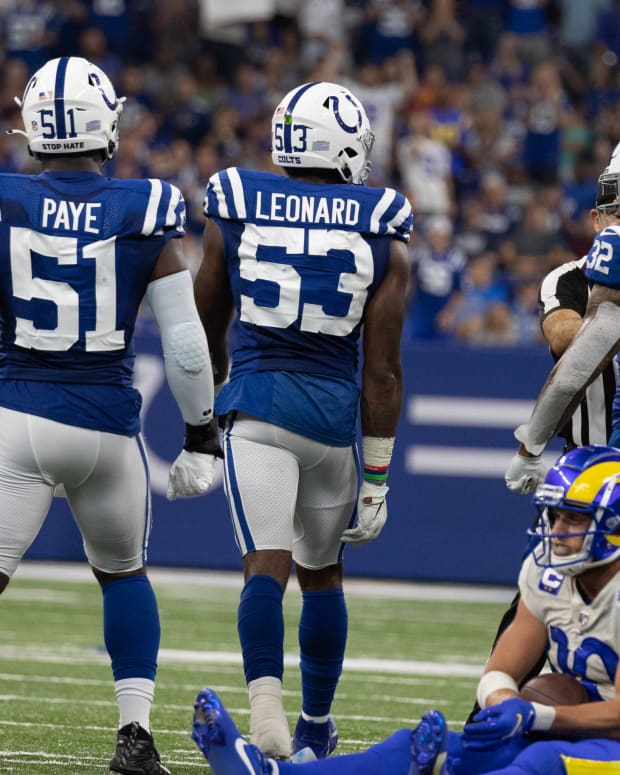Sep 19, 2021; Indianapolis, Indiana, USA; Indianapolis Colts outside linebacker Darius Leonard (53) celebrates his tackle of Los Angeles Rams wide receiver Cooper Kupp (10) in the second half at Lucas Oil Stadium.