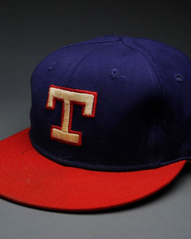 Texas Rangers cap worn Bert Blyleven on September 22, 1977 when he pitched a no-hit game against the California Angels. (Milo Stewart Jr./National Baseball Hall of Fame Library)