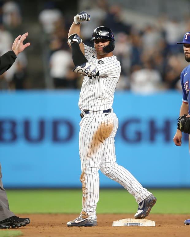 Yankees SS Gleyber Torres celebrates double