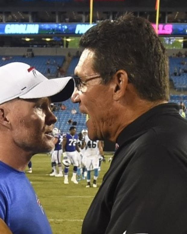 Sean McDermott (left) and Ron Rivera had a lot of success together in Carolina.