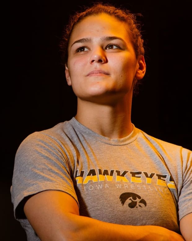 Hawkeye Wrestling Club freestyle wrestler Kayla Miracle poses for a portrait before practice on Thursday, April 18, 2019, in Iowa City.