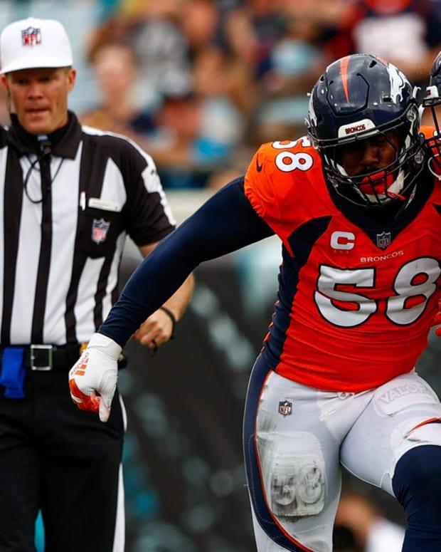 Denver Broncos outside linebacker Von Miller (58) and Denver Broncos linebacker Malik Reed (59) against the Jacksonville Jaguars at TIAA Bank Field.