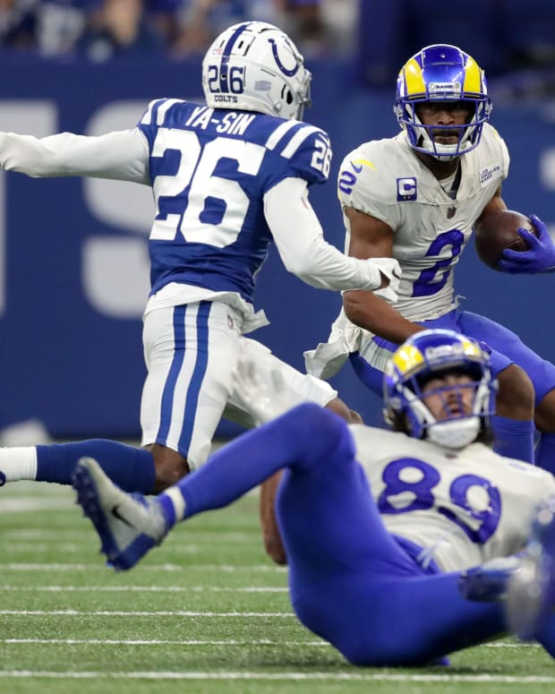 Indianapolis Colts cornerback Rock Ya-Sin (26) chases after Los Angeles Rams wide receiver Robert Woods (2) as he rushes the ball Sunday, Sept. 19, 2021, during a game against the Los Angeles Rams at Lucas Oil Stadium in Indianapolis.