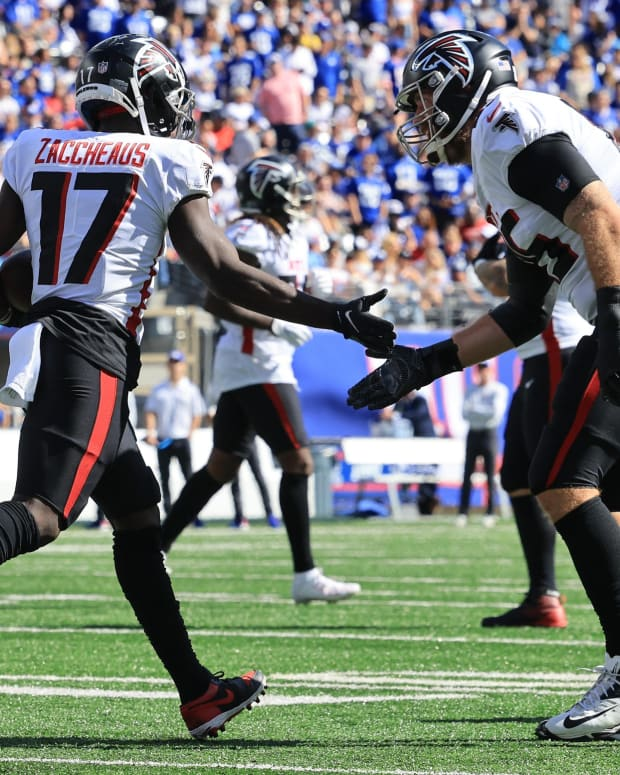 Sep 26, 2021; East Rutherford, New Jersey, USA; Atlanta Falcons wide receiver Olamide Zaccheaus (17) celebrates after scoring a touchdown with tight end Lee Smith (85) during the first half against the New York Giants at MetLife Stadium.