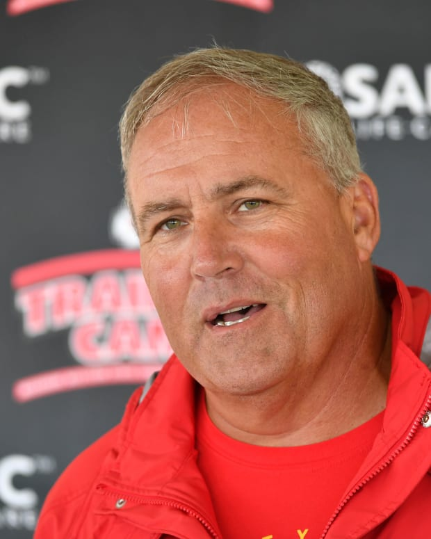 Jul 29, 2018; St. Joseph, MO, USA; Kansas City Chiefs assistant head coach Dave Toub speaks to media after training camp at Missouri Western State University. Mandatory Credit: Denny Medley-USA TODAY Sports