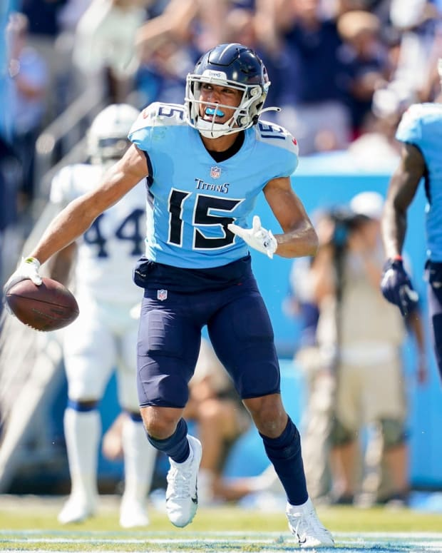 Tennessee Titans wide receiver Nick Westbrook-Ikhine (15) celebrates his touchdown against the Colts during the second quarter at Nissan Stadium Sunday, Sept. 26, 2021 in Nashville, Tenn.