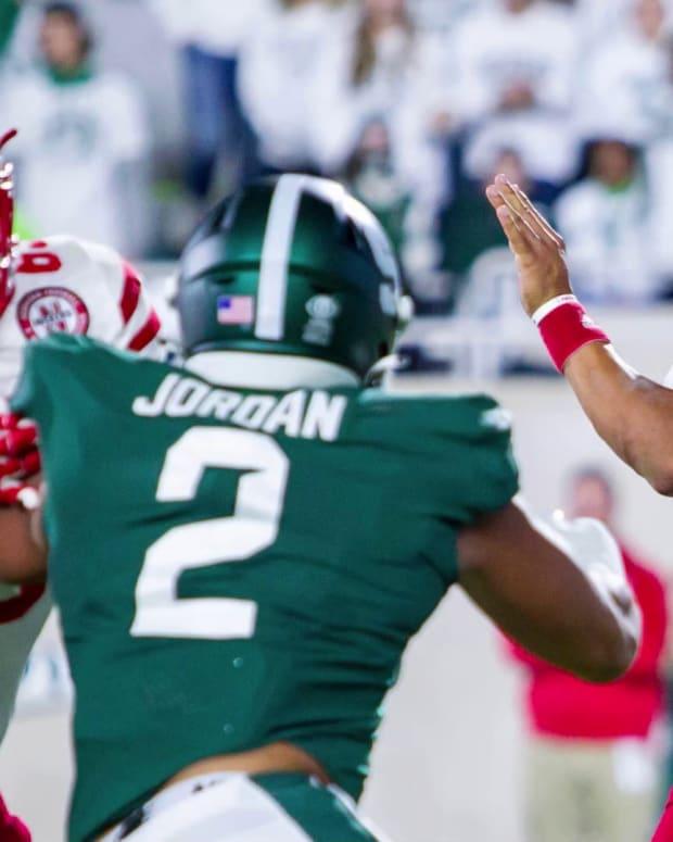 Adrian Martinez vs Michigan State pass protection 2021 SI Wochit