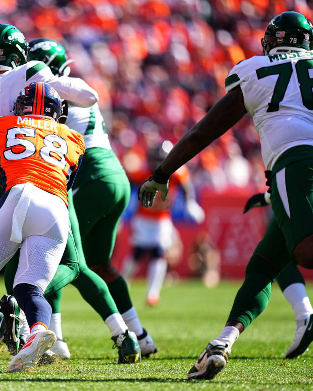 Denver Broncos outside linebacker Von Miller (58) sacks New York Jets quarterback Zach Wilson (2) in the second quarter at Empower Field at Mile High.