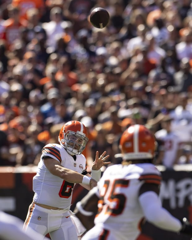 Sep 26, 2021; Cleveland, Ohio, USA; Cleveland Browns quarterback Baker Mayfield (6) throws the ball during the first quarter against the Chicago Bears at FirstEnergy Stadium. Mandatory Credit: Scott Galvin-USA TODAY Sports