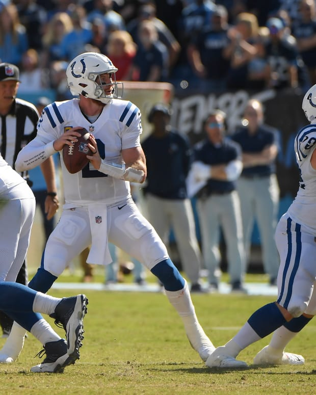Sep 26, 2021; Nashville, Tennessee, USA; Indianapolis Colts quarterback Carson Wentz (2) stands in the pocket against the Tennessee Titans during the second half at Nissan Stadium. Mandatory Credit: Steve Roberts-USA TODAY Sports