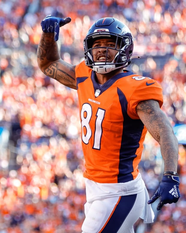 Denver Broncos wide receiver Tim Patrick (81) reacts after a play in the fourth quarter against the New York Jets at Empower Field at Mile High.