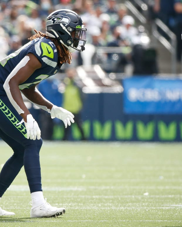 NFL: Tennessee Titans at Seattle Seahawks Sep 19, 2021; Seattle, Washington, USA; Seattle Seahawks cornerback Tre Flowers (21) waits for a snap against the Tennessee Titans during the second quarter at Lumen Field. Mandatory Credit: Joe Nicholson-USA TODAY Sports