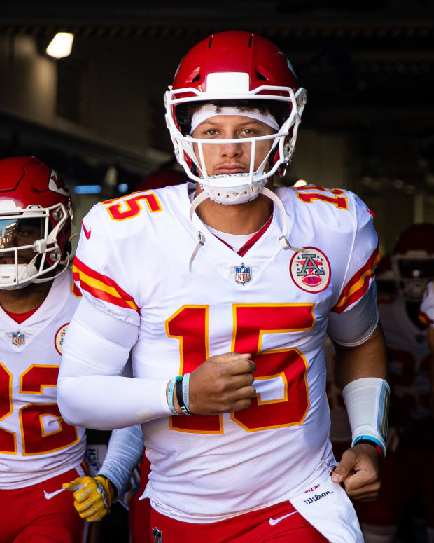 Oct 3, 2021; Philadelphia, Pennsylvania, USA; Kansas City Chiefs quarterback Patrick Mahomes (15) leads his team out of the tunnel for action against the Philadelphia Eagles at Lincoln Financial Field. Mandatory Credit: Bill Streicher-USA TODAY Sports