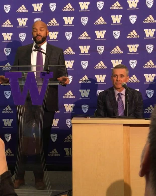 Jimmy Lake addresses the media on his hiring date.