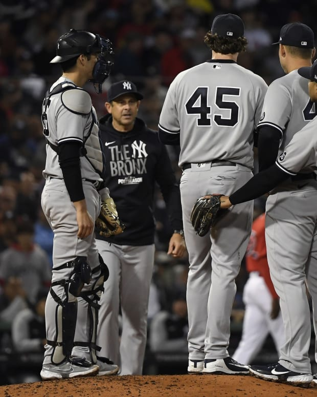 Yankees SP Gerrit Cole taken out by manager Aaron Boone
