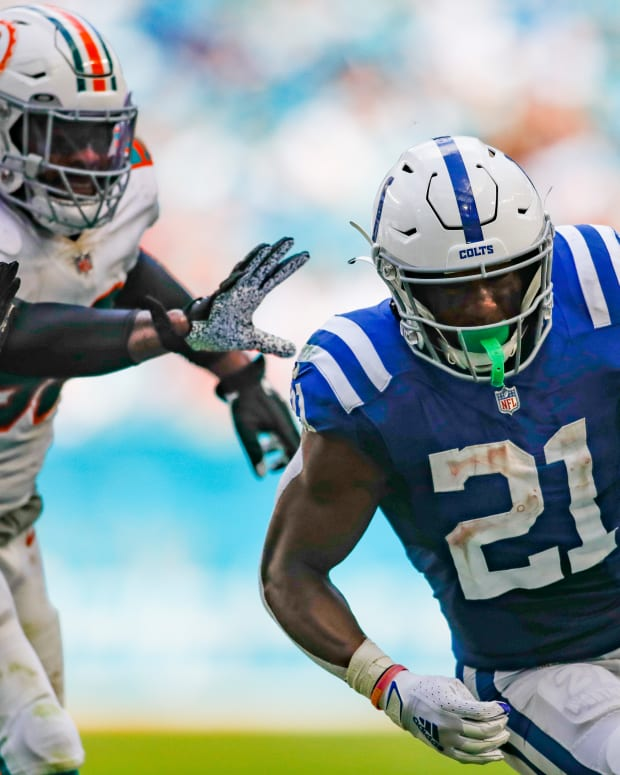 Oct 3, 2021; Miami Gardens, Florida, USA; Indianapolis Colts running back Nyheim Hines (21) runs with the football during the fourth quarter of the game against the Miami Dolphins at Hard Rock Stadium.
