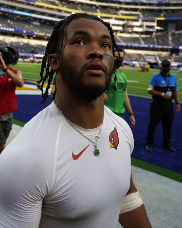 Oct 3, 2021; Inglewood, California, USA; Arizona Cardinals quarterback Kyler Murray (1) walks off the field after the game against the Los Angeles Rams at SoFi Stadium. The Cardinals defeated the Rams 37-20. Mandatory Credit: Kirby Lee-USA TODAY Sports