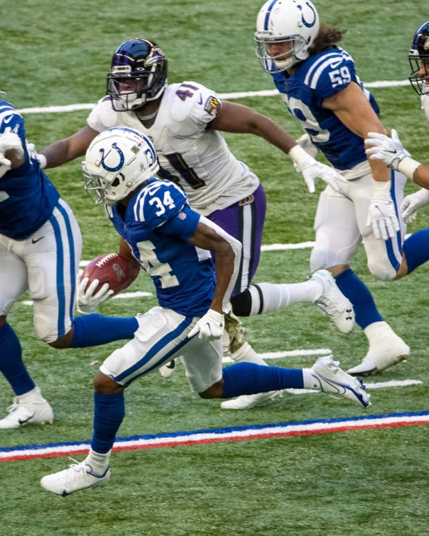Isaiah Rodgers (34) of the Indianapolis Colts rushes as Baltimore Ravens take on Indianapolis Colts, at Lucas Oil Stadium, Indianapolis, Sunday, Nov. 8, 2020. Colts lost the contest 10-24. 36 Coltsravens Rs